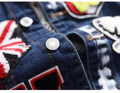 Men's Flag Letters Patch Design Jacket