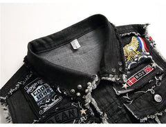 Men's Embroidery Denim Patchwork Slim Tank