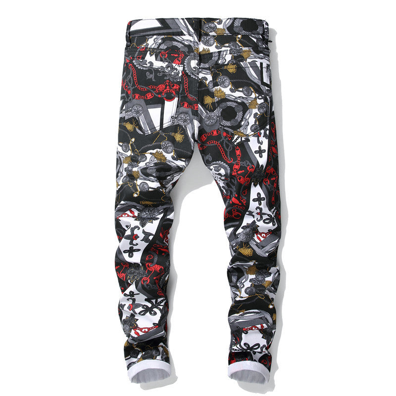 Men's 3D Pattern Slim Fit Jeans Pants