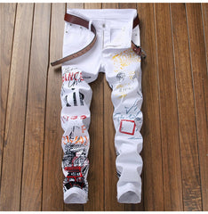 Men's Letters Printed Jeans Slim Fit Pants