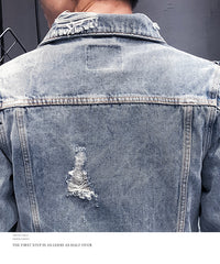 Men's Hip Hop Bomber Cowboy Jean Jacket
