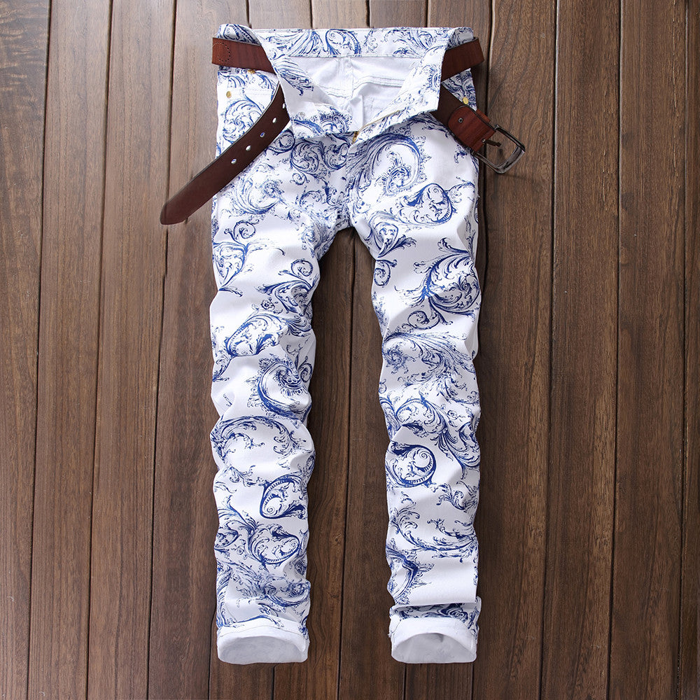 Men's Porcelain Print Slim Jeans Pants