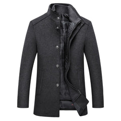 Holyrising Wool Men Thick Overcoats Single Breasted Jackets