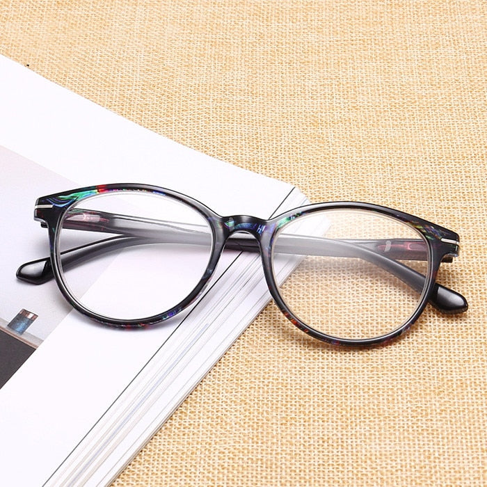 Urltra Light Retro Round Floral Reading Glasses