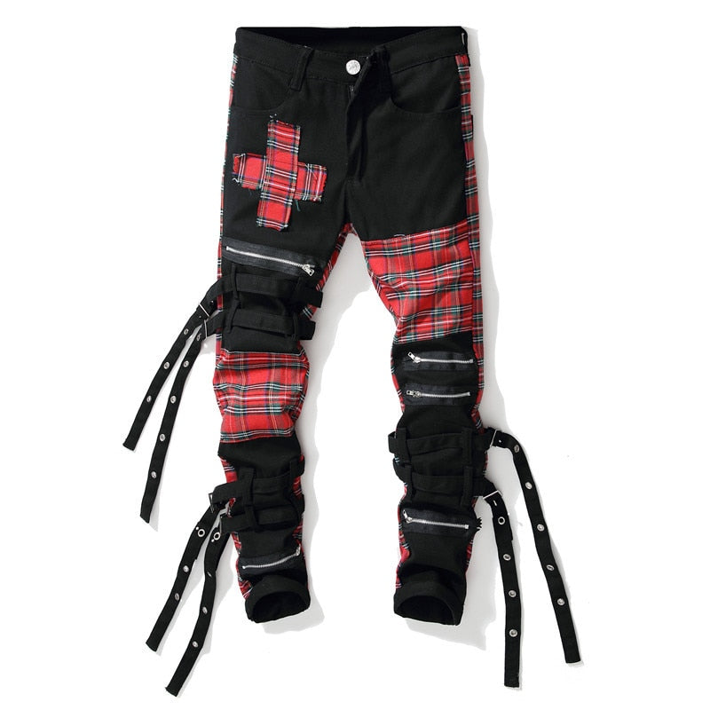 Men's Patchwork Cross Bandage Denim Pants
