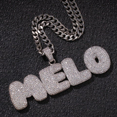 Custom CZ Bubble Letters Pendant Necklace