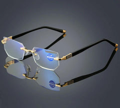 Anti Blue Ray Dimond Cutting Rimless Eyewear