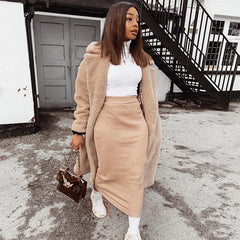 Women High Neck Long Crop Tops Skirt Set