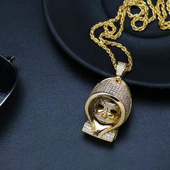Men Hip Hop Micro Paved Zircon Mario Necklace