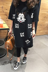 Women Casual Cartoon Mouse Print T Shirt