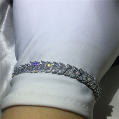 White Gold Filled Flower Wedding Bracelets