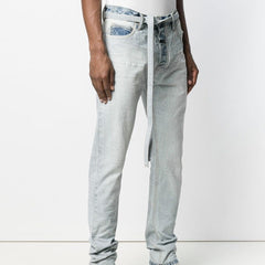 Men Ribbons Jeans Wash Trousers