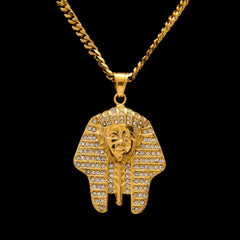 Men's Rhinestone Pharaoh Pendant Necklace