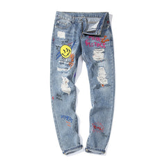 Man's Hip Hop Broken Graffiti Print Denim Pants