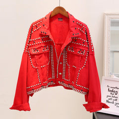 Women Hand Rivet Studded Denim Jacket