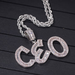 4mm CZ Tennis Chain Letters Pendant Necklace