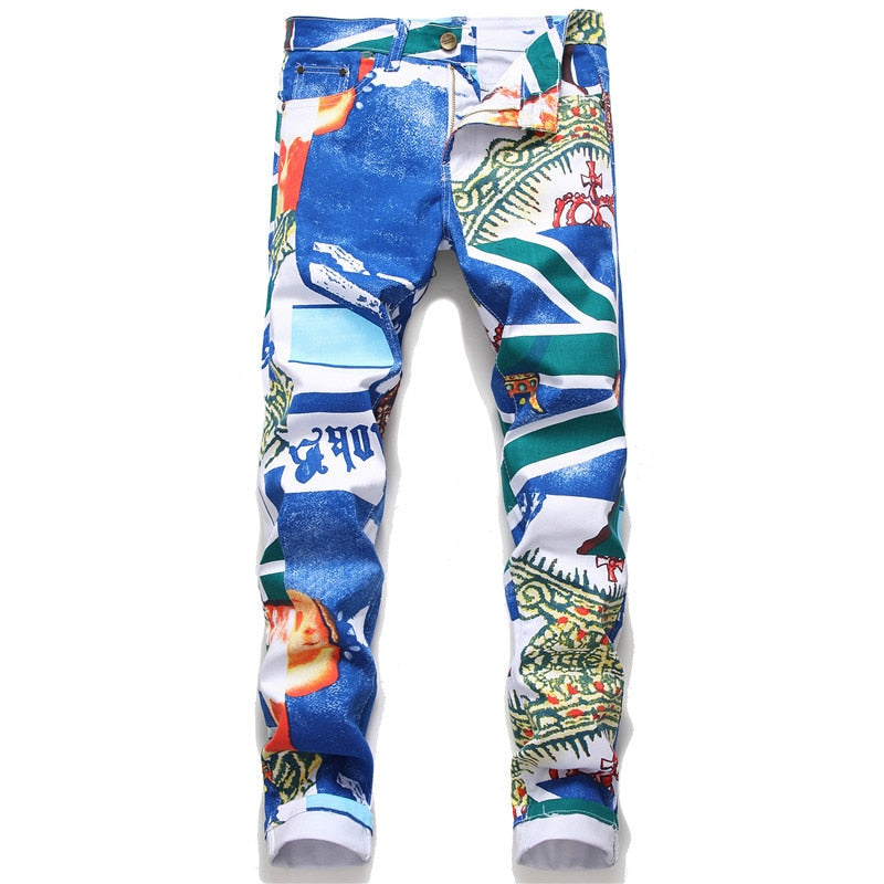 Men's Color Printing Design Jeans Pants
