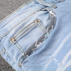 Men's Patchwork Design Jeans Denim Pants