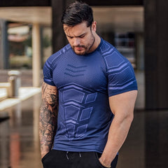 Quick dry Men Running Sport Skinny Short Tee Shirt