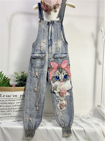 Women Cartoon Cat Print Denim Jumpsuits