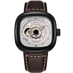 Stainless Steel Tourbillon Fashion Trend Square Leather Watch