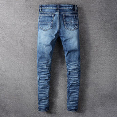 Men's Ripped Jeans Patch Stretch Denim Pants