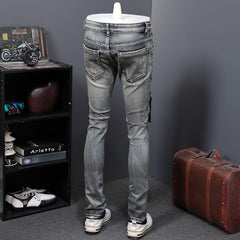 Men Slim Fit Zippers Straight Jeans Pants