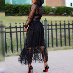 Women Black Mesh Polka Dot Two Pieces Set