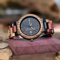 BOBO BIRD Wood Quartz Week Date Watches