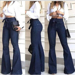 High Waist Flare Black Bell Bottom Ripped Jeans