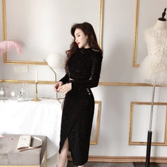 Women O-neck Velvet High Waist Skirt Set