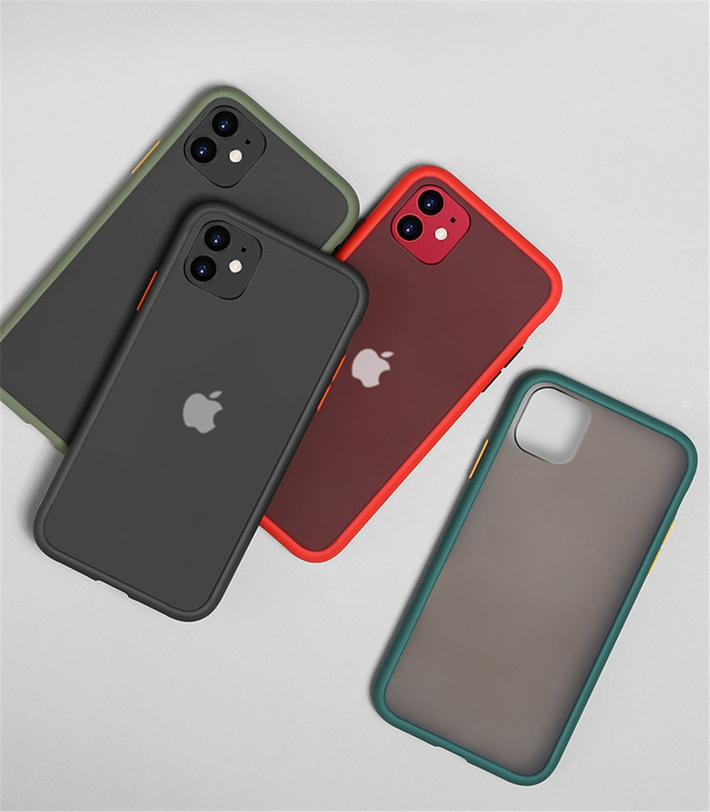 Luxury Contrast Color Frame Matte Hard PC Protective Phone Case