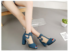 Summer High Heels Hollow Mesh Sandals