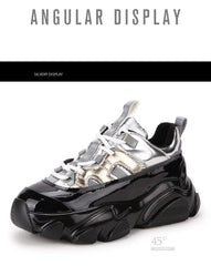 Women Genuine Patent Leather Sneakers