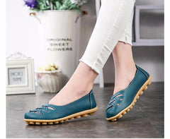 Genuine Leather Woman Hollow Out Loafers