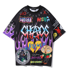 Graffiti Cartoon Printed Men's T Shirt
