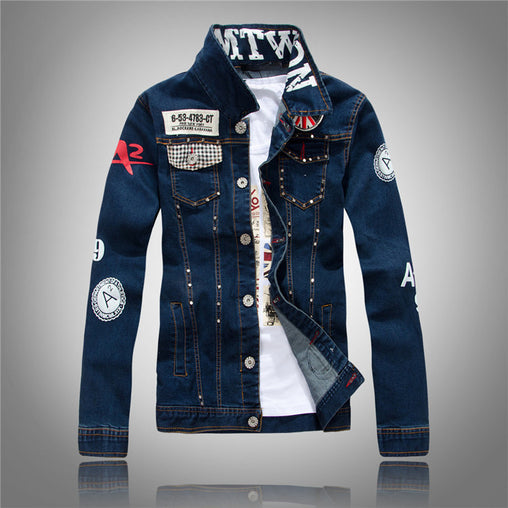 Men's English Flag Patch Slim Jean Jacket