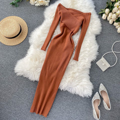 Shoulder Cross Knit Midi Long Party Dress