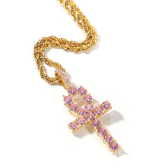 Hiphop CZ Stones Cross Pendant Necklace