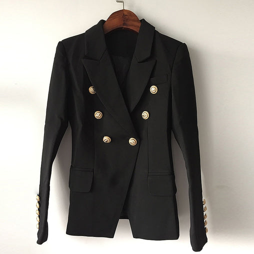 Double Breasted Metal Lion Buttons Blazer