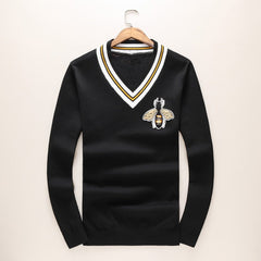 Men Embroidery Bees Knit Casual Sweaters