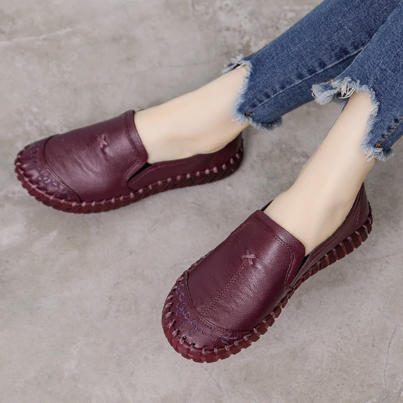 Genuine Leather Loafers Women Casual Shoes