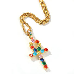 Rainbow Mix-colored Ankh Cross Charm Necklace