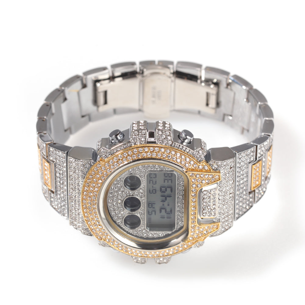 Hip Hop Men Stainless Steel Rhinestones Watch