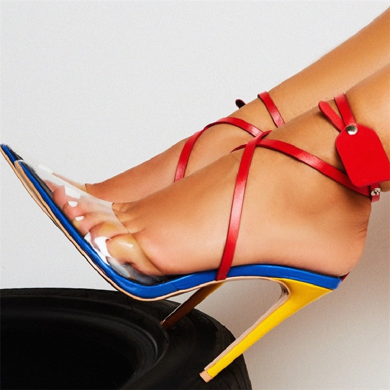 Transparent PVC Pointed Toe High Heels Sandals