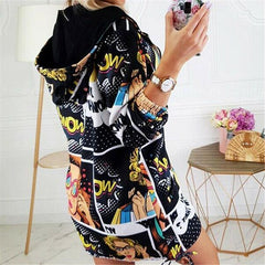 Women's Vintage Print Loose Long Coat