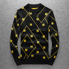 Yellow H Striped embroidered Casual Sweaters