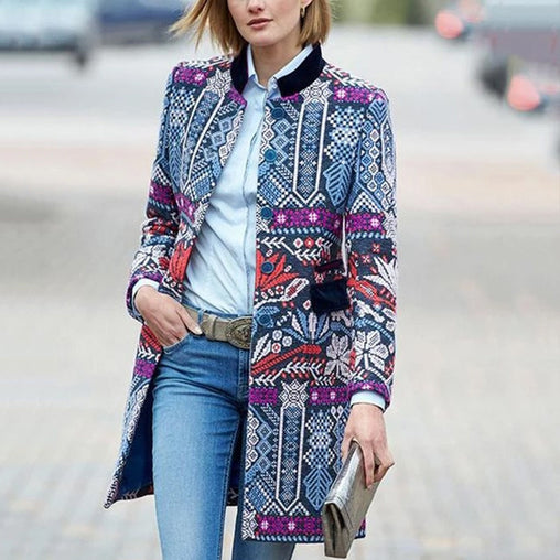 Women Vintage Print Stand Collar Long Coat