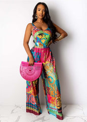 Women V-neck Print Floor-length Jumpsuit