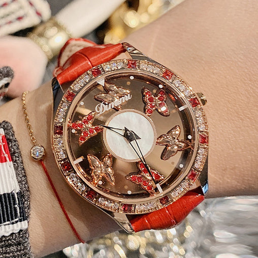 Butterfly Crystal Rotatable Women Watches